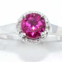 1 Carat Ruby Diamond Ring .925 Sterling Silver Rhodium Finish White Gold Quality