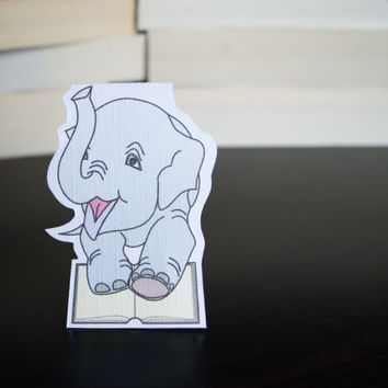 Magnetic bookmark of Elfy the Elephant! Book accessories, Childrens art, School supplies, Book gift, Animal collectibles, BOOK FARM ANIMALS
