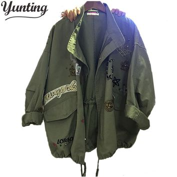 New 2017 Military Style Spring Jacket Women Plus Size XL-5XL Casual Embroidery Long Sleeve Loose Coats Female Jacket