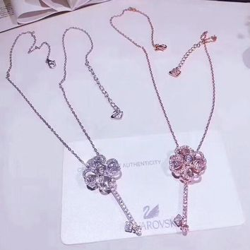 Swarovski New fashion diamond floral key sterling silver pendant necklace women