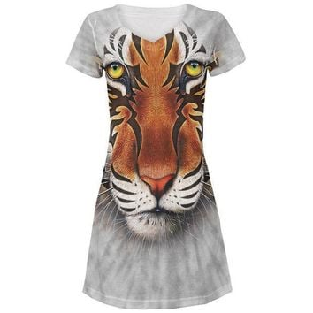 CREYCY8 Tribal Tiger All Over Juniors V-Neck Dress
