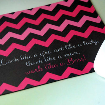 Inspirational Quote for Office Desk + Pink Chevron Mouse Pad