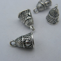BULK 30 Thimble charms ( double sided and 3D ) 13 x 9mm antique silver tone