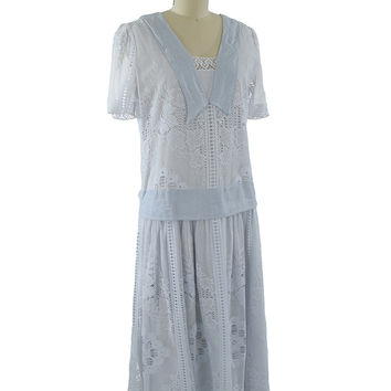 80s Blue Lace 20s Style Dropped Waist Dress