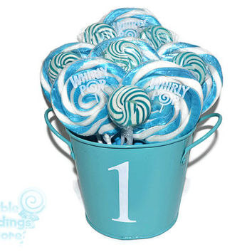 Blue and White 1st Birthday Lollipop Arrangement, OOAK Candy Arrangement, Candy Centerpiece, Blue, White, Candy Buffet, Birthday