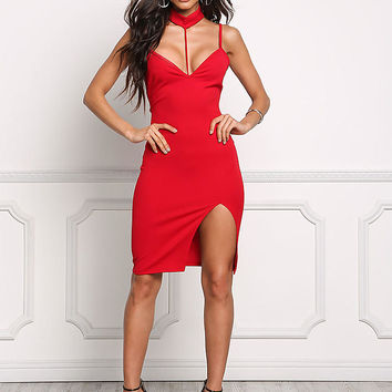 Red Choker Plunge Slit Bodycon Dress