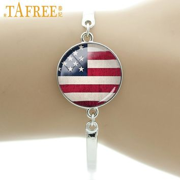 TAFREE Brand American flag Country logo picture USA Texas flag bracelet men women jewelry vintage national symbolic charms T234