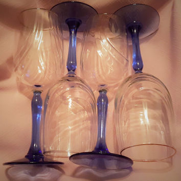 Lenox Blue Stem Optic Swirl Wine Glasses With Gold Rim, Lenox Blue Stem Wine Goblets , Lenox Toasting Wine Glasses, Wedding Shower Glasses