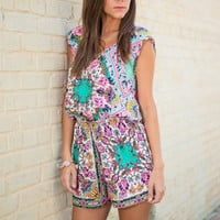 So Much Fun So Little Time Romper, Green-Pink