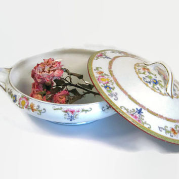 Vintage Noritake M Nippon James China Porcelain Floral Covered Casserole