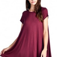 Pretty in Chic Trapeze Shift Pockets Dress-Burgundy