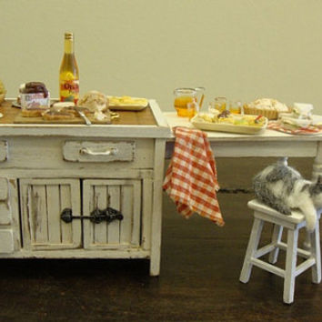miniature Tuscan style kitchen table shabby chic by bagusitaly