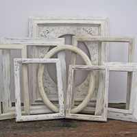 Shabby Chic Picture Frame Set Of 8 Antique White Wall Decor