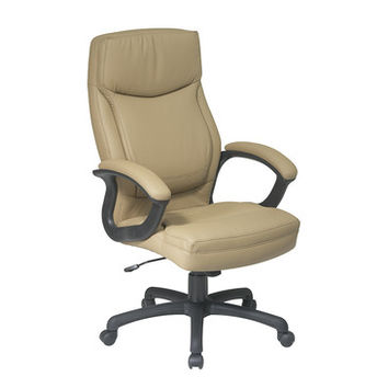 Work Smart EC Series Executive High Back Tan Eco Leather Chair w/ Locking Tilt Control - Color Match Stitching