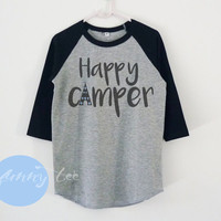 Camping shirt Happy camper tshirt children raglan shirt for kids toddlers boys girls clothing