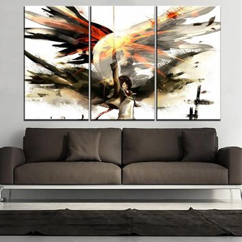 Cool Attack on Titan Modern Wall Home Decorative Painting 3 Panel  Anime Mikasa Ackerman Picture Canvas Art Print Decor Framework AT_90_11