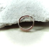 Pink Gold Nose Ring with Pink Gold Wrap
