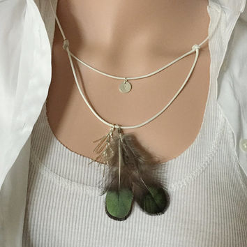 Real feather necklace, Layered necklace Personalized layered necklace kids, layering necklace, flower girls gift, women Personalized jewelry