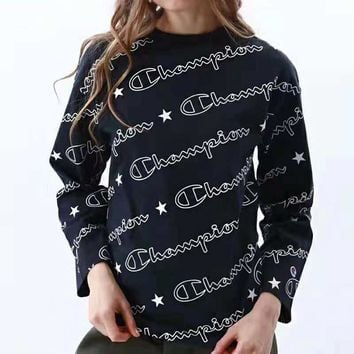 Champion Fashion Women Men Casual Full Logo Print Long Sleeve Sweater Top Sweatshirt