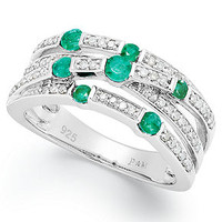 Sterling Silver Ring, Emerald (1/3 ct. t.w.) and Diamond (1/4 ct. t.w.) Band