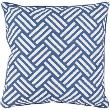 Hatch Pattern Cobalt Blue Outdoor Pillow