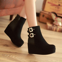 Fashion Round Toe Buckle Strps Embellished Wedge High Heels Black PU Ankle Buckle Martens Boots