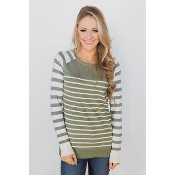 Stuck on You Striped Sweater - Ivory & Olive