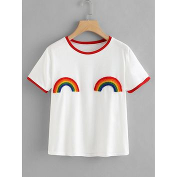 Rainbow Patched Ringer Tee