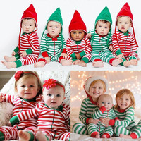 Christmas Rompers Baby Boys Girls Classic Stripe Cotton Romper Sleepwear Pajamas Children Clothes