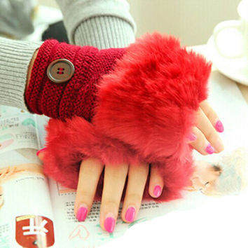 Women Warm Winter Faux Rabbit Fur Wrist Fingerless Gloves Mittens Women Fur Gloves With lot of colors suti shipping party #036