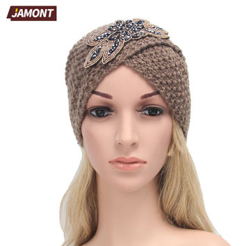 [JAMONT] Women's Knitted Beanie Headband Crochet Headwrap Jewel Flower Winter Warm Turban Hair Accessories Q3328