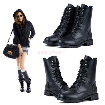 Women Girl Cool Black Military Army PUNK Knight Lace-up Short Boots Shoes 7936 Women'