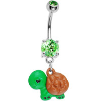 Peridot Green Gem Turtle Love Belly Ring | Body Candy Body Jewelry