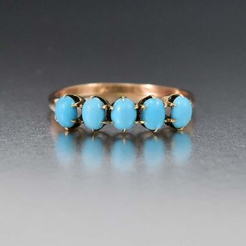 Vintage Yellow Gold & Turquoise Five Stone Ring