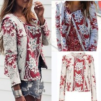 Zippers Floral Winter Print Jacket [11335936519]