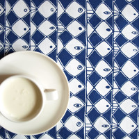 Tablecloth white navy blue abstract fishes , also napkins, table runner , pillow , curtains available, great GIFT