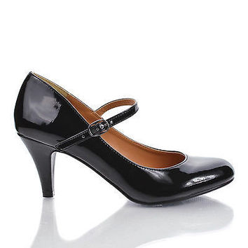 KayleeH Black Patent By City Classified, Closed Toe Mary Jane Glossy Kitten Heel Professional Pump