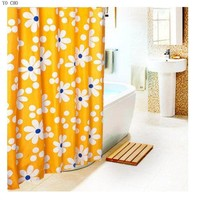 2014 Good quality Sun flower  high-grade dacron cloth polyester yellow waterproof shower curtain bathroom mildew thickening