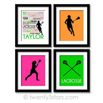 Girl's Lacrosse Wall Art Set - Choose Any Colors - twenty3stars