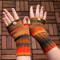 """Fingerless mittens """"Autumn Queen"""", fingerless gloves, wrist warmers, one-of-a-kind - fine yarn and snug fit, for her or him"""
