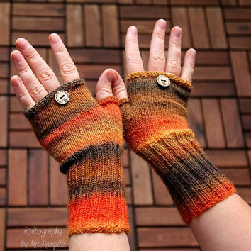 "Fingerless mittens ""Autumn Queen"", fingerless gloves, wrist warmers, one-of-a-kind - fine yarn and snug fit, for her or him"