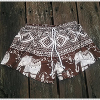 Brown Shorts Elephant Printed Rayon Boho Hobo Beach Hippie Hipster Clothing Aztec Ethnic Bohemian Ikat Tank Handmade Colorful Unique Bikini