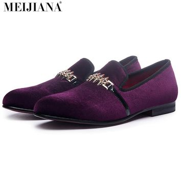 Luxury Loafers Man Shoes Purple Metal Buckle Man Shoes Brand Leather