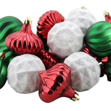 """26ct Red Green and White 3-Finish Shatterproof Christmas Ornaments 2.5"""" (60mm)"""