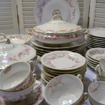 Vintage Orleans Bavaria Dinnerware Set 46 Piece White Pink Floral Z S & C Limoges Haviland PanchosPorch