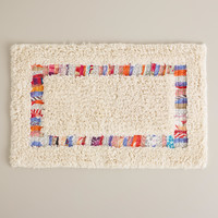 Ivory Nomad Recycled Fabric Bath Mat - World Market