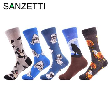 SANZETTI 5 Pairs/Lot Novelty Men's Combed Cotton Funny Crew Socks Dog Shark Pattern Fashion Casual Dress Wedding Socks Gifts