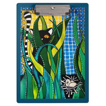 Hunter in Camouflage Whimsical Cat Art Clipboard