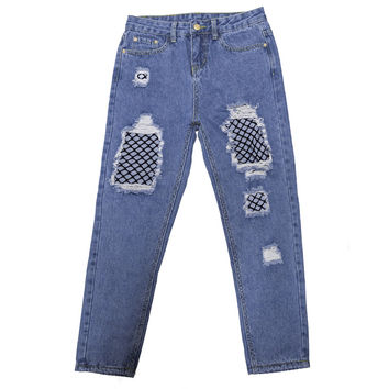 Ripped Jeans For Women Pants Denim Vintage Straight Jeans For Girl Mid Waist Net Patchwork Denim Jeans