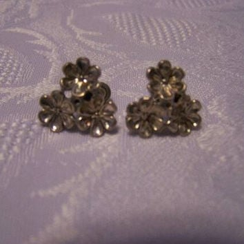 Sterling Beau earrings Vintage Beau sterling flower screw back earrings flower earrings signed Beau sterling